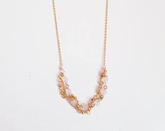 Twisted Rose Quartz & Gold Hematite Necklace