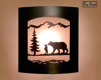 Wall Sconce Rustic Bear Light, Cabin Decor Lamp, Pine Tree, Left Facing