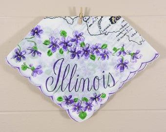 Vintage Illinois Hankie / Illinois Souvenir Hanky / Purple Illinois State Hankie
