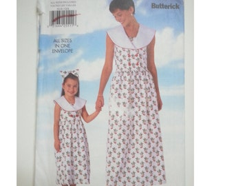 Mother Daughter matching Dress/ maxi /90s / summer dress/1997 sewing Pattern, Size 2 3 4 5 6 6X, Size 6 8 10 12 14 16 18, Butterick 5018