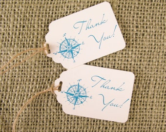 Nautical Beach Wedding Favor Tags with Compass or other nautical design