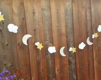 Moon and Star garland,PICK COLOR,Star and Moon garland,Baby Shower decorations,Moon and Cloud garland,Glitter moon and star banner,Moon Star