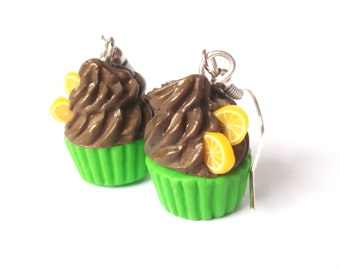 Chocolate Earrings Cupcake Earrings ( polymer clay lime cupcakes miniature food cupcake jewelry kawaii earrings dessert earrings food )
