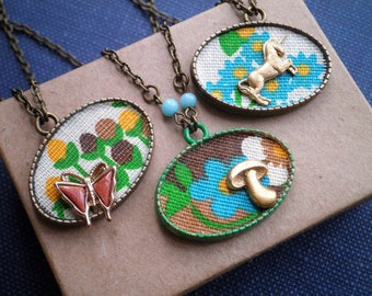 Vintage Unicorn / Butterfly / Mushroom Charm Necklace - Retro Floral Fabric Wildflowers Woodland Pendant Flower Textile Collage Jewelry Gift
