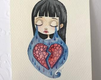 Heart Break original watercolor painting - 5 x 7 inches