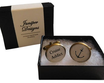 "Handcrafted ""Cruise Addict"" Cuff links with anchor - Fun gift for cruise, gift for cruiser, gift for him"
