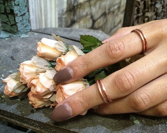 Solid Copper Midi and Stacking Ring - Hammered Copper Ring - Adjustable - Made in the USA