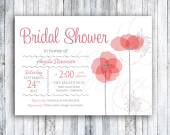 Floral Bridal Shower Invitations | Wedding Shower Invitation | Printed 5x7 Invitation | Poppy Flowers