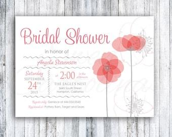 Floral Bridal Shower Invitations | Wedding Shower Invitation | Printed 5x7 Invitation | Poppy Flowers