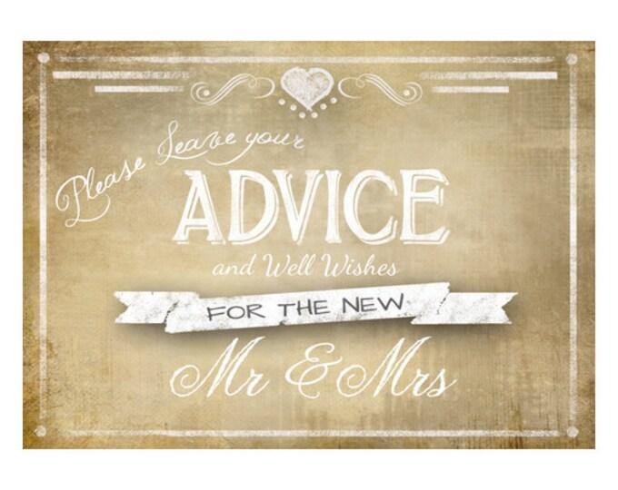 Printable Vintage  Wedding ADVICE sign -4x6, 5x7, 8x10 or 11 x 14 - instant download digital file - DIY - Vintage Collection