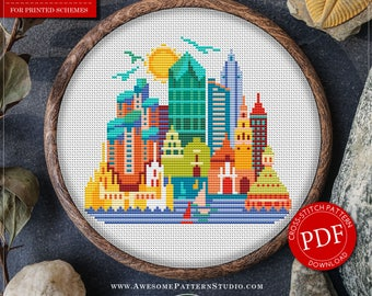 Modern Cross Stitch Pattern of San Diego for Instant Download *P079 | Easy Cross Stitch|Counted Cross Stitch|Embroidery Design