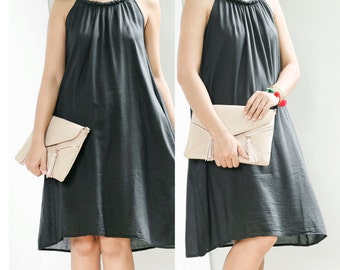 Pleated Cotton Boho Summer Dress With Baided Neck, Comfy Casual Beach Sleeveless Halter Dress, Knee Length, Black