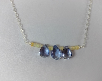 "17"" Sparkling Mystic Blue Quartz Pear Briolettes and Ethiopian Welo Fire Opal Beaded Sterling Silver Necklace"