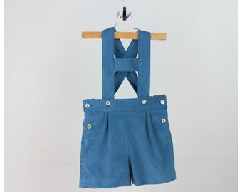 Boys Shorts - Teal corduroy short overalls - Shortalls with H bar suspenders - Other colors available