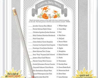 CELEBRITY BABY Name game in a classic gray with a mom & baby fox, ANSWERS included, diy Printable, Instant Download, 119BA
