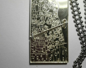 Long necklace Kiss KLIMT inspired in plexiglass laser carved