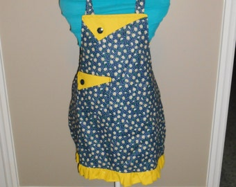 Daisies with Polka Dots Girl's Apron