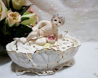 Vintage  Circa 1940s,  Royal Sealy, Japan Porcelain Cherub Lidded Dish