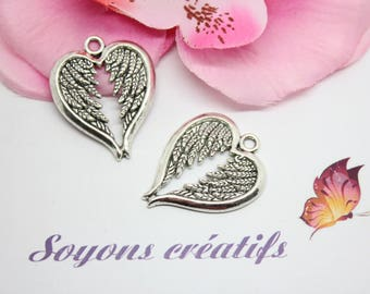 10 pendants, Charm 30x24mm - SC0081705 antique silver angel wing charm