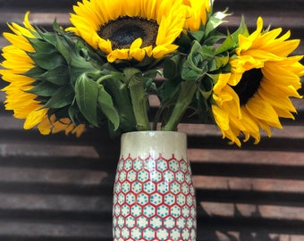 Ceramic vase handmade vase budvase pottery gift floral vase red vase turquoise vase stoneware vase handthrown vase