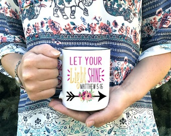 Christian Coffee Mug - Let your light shine - Matthew 5:16 - Dishwasher Safe Microwave Safe - Encouragement Gift Coffee Mugs- Cute Christian
