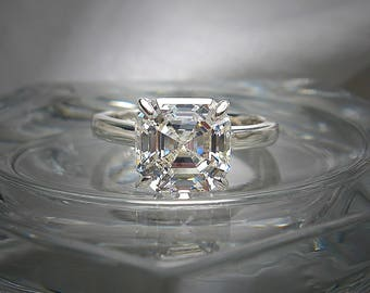 Very Light Yellow Tint (G Color) Quality Asscher Cut 8mm (3 ct) Cubic Zirconia Sterling Silver or 10k Gold Engagement Ring Made to Order