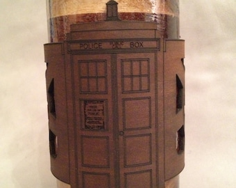 Dr. Who themed, custom design leather mug wrap with 12oz handmade walnut mug combo