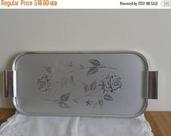 ON SALE Rose Serving Tray - Brushed Chrome