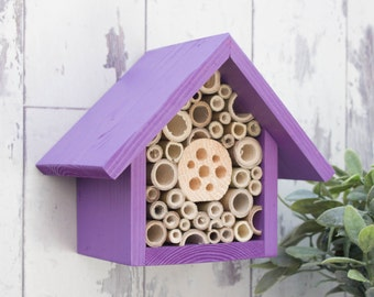 Mason Bee House and Insect Home, One Tier, in 'Purple Pansy'. Can be personalised.
