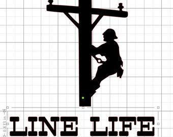 Line Life - Lineman - Decal - Download -- .studio3 .dxf .png .svg