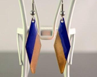 blue & copper diamond enamel earrings