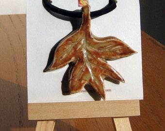 Handmade Ceramic Leaf Pendant - Fall Leaf Focal Pendant
