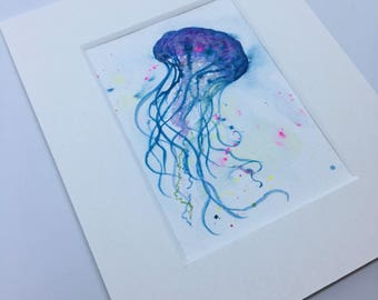 Jellyfish III Original watercolour ACEO art trading card