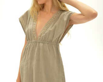 Linen Short Night Gown With Antique laces/ Flax Sleepwear Women/ Exclusive Linen Lingerie/ Luxury Linen Gown/ Gift For Her