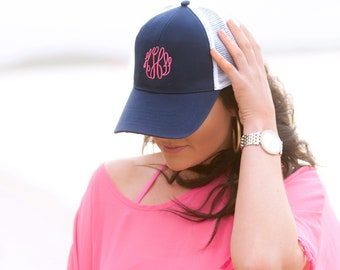 Monogram Navy Trucker Cap for Women