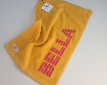 Personalized Youth Golf Towel, Yellow Kids Golf Towel, Yellow Youth Golf Towel