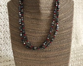 Smoky black crystal necklace with red accents