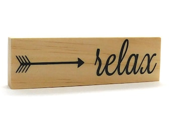 """Relax Magnet Inspirational Quote Magnet Take It Easy Saying Rustic Fridge Decor Wooden Refrigerator Magnet Yoga Gift Idea 1.5"""" x 5"""""""