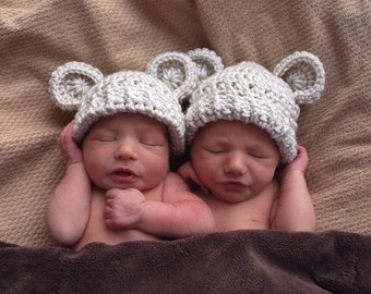 Crochet Baby Hat, Newborn Crochet Hats, Hat with Ears, 0-3 months, MADE TO ORDER in your color choice,  Infant Winter Hat,  Animal Hat