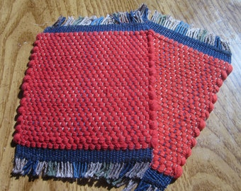 mug rug set, red handwoven rag rug coaster set
