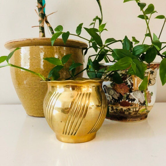 Vintage Brass Planter Brass Plant Holder Hollywood Regency Gold Planter Boho Bohemian Decor