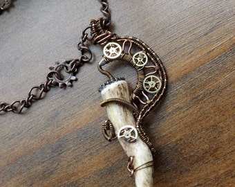 Genuine Elk Antler Necklace / Wire Wrapped Steampunk Necklace / Clock Part Gears / Antique Copper