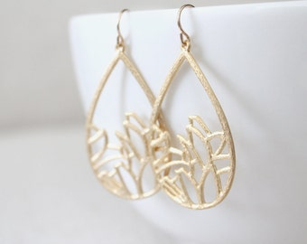 Flower Teardrop Earrings - Garden - Gold or Silver - SALE