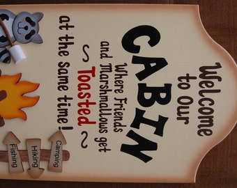 Personalized Funny Wood Cabin Sign - Where Friends and Marshmallows Get Toasted at the Same Time