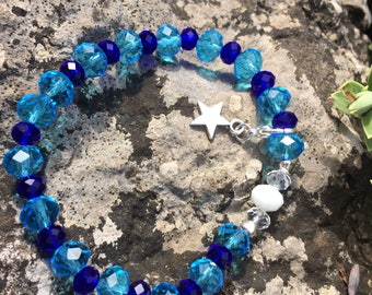 Two tone blue faceted beads syn/ treat tracking bracelet (15 count) dieting and slimming in the modern world