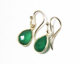 Green Onyx Earrings Genuine Onyz Earrings Small Dangle Earrings Green Teardrop Earrings Onyx Jewelry 14k Gold Bezel BZ-E-102-GO