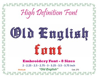 old english font embroidery8 size