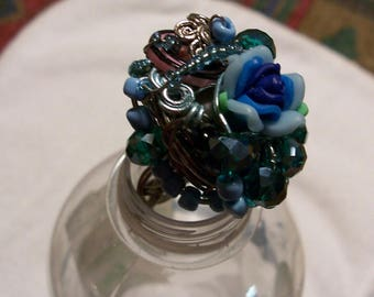 Handmade  Wire Seed Crystal and Recycled  Bead Statement Ring Size 8