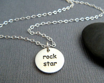 silver rock star necklace small round sterling inspirational jewelry inspiring quote motto affirmation simple word pendant rock n roll charm