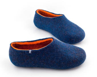 Men's House Slippers, Felted Slippers Blue Orange, Sheep Wool Clogs by Wooppers Woolen Slippers. Most comfortable slippers, natural shoes